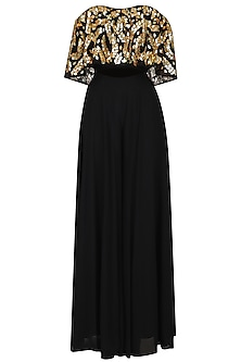 Black Embroidered Off Shoulder Blouse With Palazzo Pants by Esha Koul