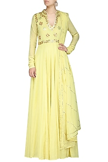 Light Yellow Embroidred Anarkali Gown by Esha Koul