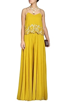 Mustard Embroidered Top With Palazzo Pants by Esha Koul-Shop By Style