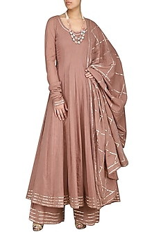 Champagne Gold Embroidered Anarakali Set by Esha Koul