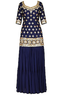 Dark Blue Embroidered Sharara Set by Esha Koul