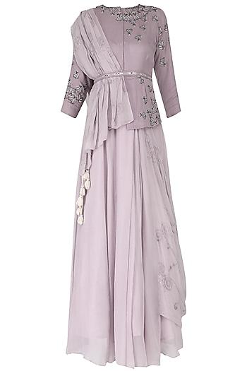 Light Lavender Embroidered Skirt Set by Ek Soot