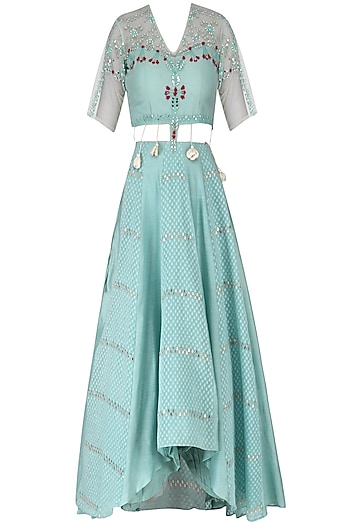 Duck Egg Blue Embroidered Anarkali by Ek Soot
