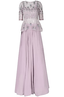 Light Lavender Embroidered Gathered Skirt Set by Ek Soot