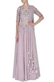Light Lavender Embroidered Gathered Skirt Set by Ek Soot