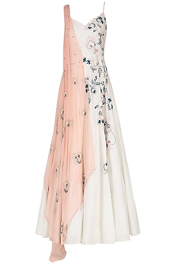 Off White Embroidered Draped Anarkali by Ek Soot