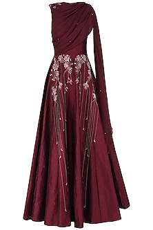 Burgundy Embroidered Anarkali Gown by Ek Soot