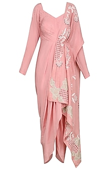 Dusty Pink Criss Cross Dhoti Jumpsuit by Ek Soot