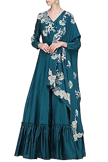 Teal Embroidered Anarkali Gown by Ek Soot