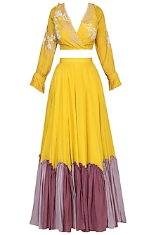 Mustard Embellished Lehenga Set by Ek Soot