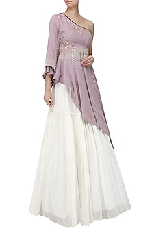 Lavender Embroidered Asymmetrical Peplum Top with Ivory Lehenga Skirt by Ek Soot