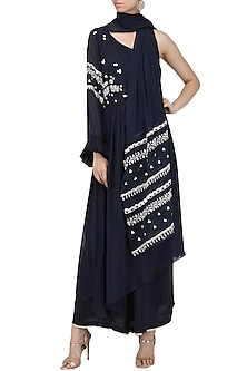 Navy Blue Embroidered Asymmetrical Kurta with Palazzo Pants by Ek Soot