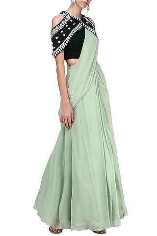 Pista Green Embroidered Lehenga Saree with Blouse by Ek Soot