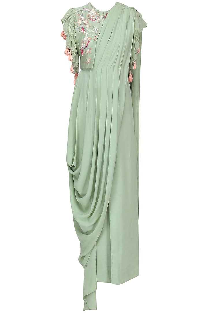 Pista Green Drape Saree with Embroidered Jacket by Ek Soot