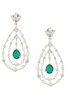 Silver Swarovski Crystal and Green Zircon Earrings by Essense