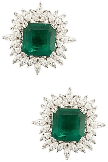 Silver Swarovski and Green Zircon Stud Earrings by Essense