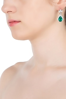 Silver Swarovski and Tear Drop Shaped Green Zircon Earrings by Essense