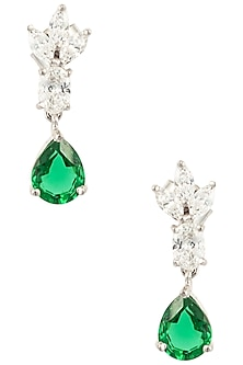 Silver Swarovski Crystal and Green Zircon Drop Earrings by Essense
