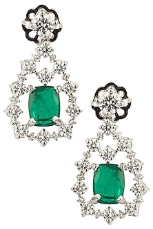 Silver Swarovski and Square Shaped Green Zircon Earrings by Essense