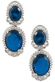Silver Swarovski and Blue Zircon Earrings by Essense