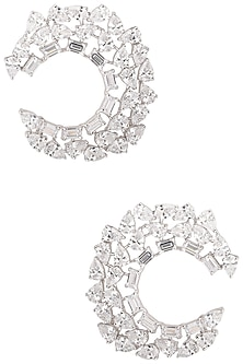 Silver Swarovski Open Hoop Earrings by Essense