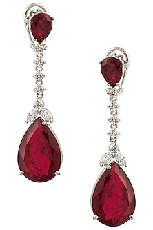 Silver Swarovski and Red Zircon Dangler Earrings by Essense