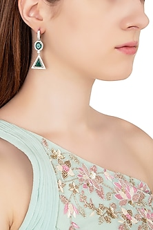 Silver Swarovski and Green Zircon Abstract Earrings by Essense