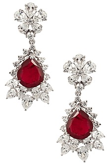 Silver Swarovski and Red Zircon Earrings by Essense