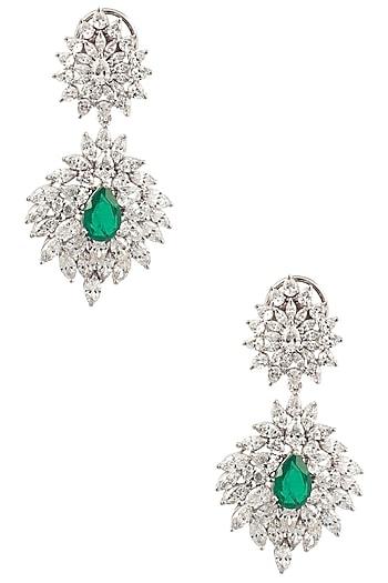 Silver Swarovski Crystal and Green Zircon Dangler Earrings by Essense