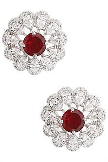 Silver Swarovski and Red Zircon Stud Earrings by Essense