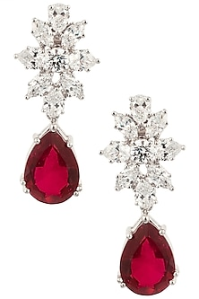 Silver Swarovski and Red Tear Drop Shaped Zircon Earrings by Essense