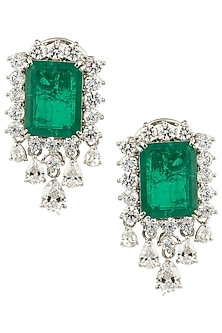 Silver Swarovski and Green Zircon Earrings by Essense