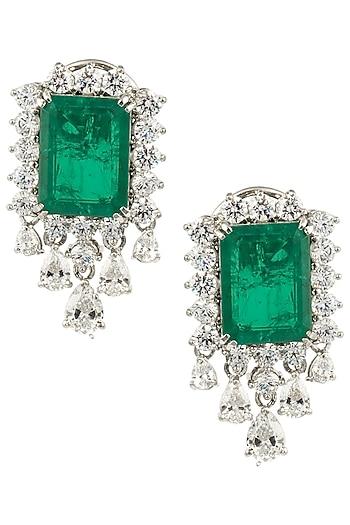 Silver Swarovski and Green Zircon Earrings by Essense