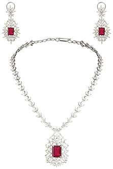 Silver Swarovski and Red Zircon Necklace Set by Essense