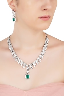Silver Swarovski and Green Zircon Necklace Set by Essense