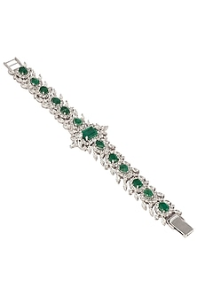 Silver Swarovski and Green Zircons Bracelet by Essense
