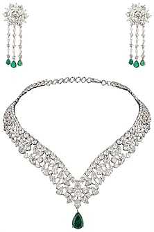 Silver Swarovski and Green Zircon Stone Necklace Set by Essense