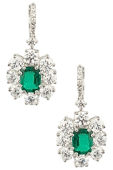 Silver Swarovski and Green Zircon Stone Earrings by Essense