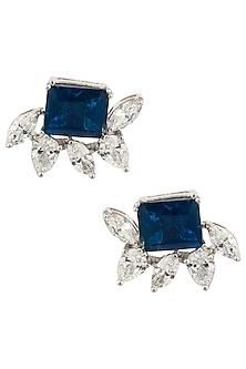 Silver Swarovski and Blue Zircon Stud Earrings by Essense