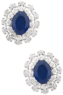 Silver Swarovski and Blue Zircon Stone Stud Earrings by Essense