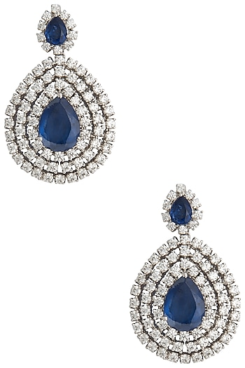 Silver Swarovski and Blue Zircon Dangler Earrings by Essense