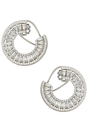 Silver Swarovski Open Hoop Earrings by Essense