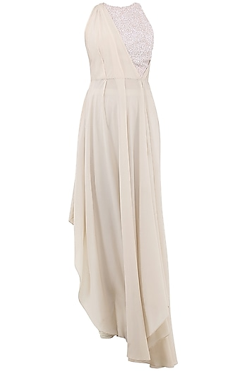 Beige and White Embroidered Gown by Esse