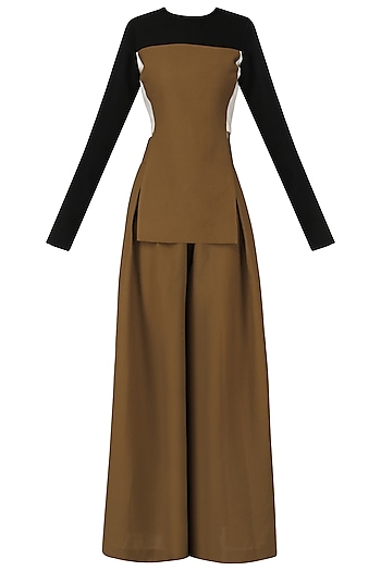 Tan Brown Top with Flared Pants by Esse