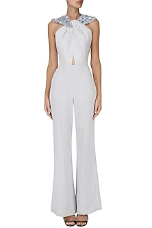 Ice Blue Embroidered Jumpsuit by Esse