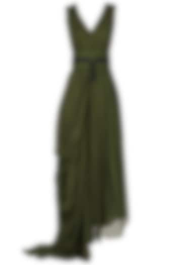 Deep Green Pre-Stitched Saree by Esse