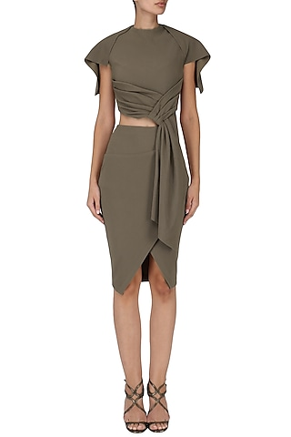 Grey Brown Draped Top with Skirt by Esse