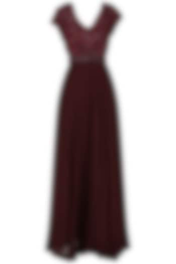 Deep Maroon Embroidered Anarkali Gown by Esse