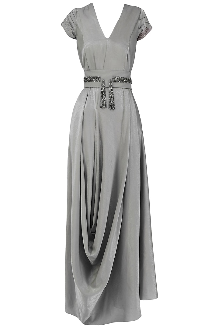 Silver Grey Draped Gown by Esse