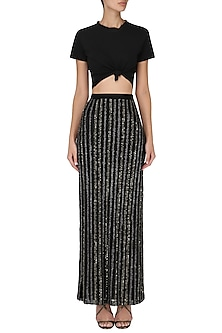 Black Embroidered Maxi Skirt by Esse